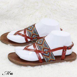 Mossimo Supply Co Brown Tribal Strappy Sandals
